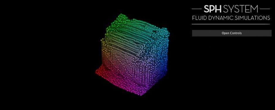 Fluid Simulation with SPH (Smoothed particle hydrodynamics) in WebGL